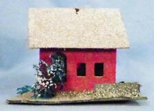 Vintage Christmas House Scrub Tree Village Putz Train Display Red White Roof #42