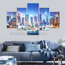 5Pcs New York City Night Scene Canvas Print Painting Home Wall Picture Decor US