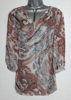 MONSOON Ivory Brown Ladonna Print Silk Short or 3/4 Sleeve Shirt Top UK12 £59