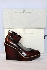 Brunello Cucinelli  Leather Burgundy Wedges Pumps Women Sz IT 36  US 5.5 $1180