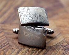 Men's Silver Etched Cufflinks - Modern Swirl