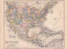 Vereinigte Staaten Amerika USA Mexiko LANDKARTE 1888 United States Mexiko  Map