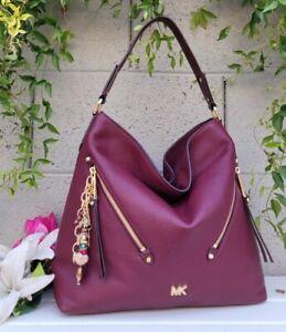 NEW MICHAEL KORS EVIE maroon wine PEBBLE LEATHER Sample HOBO BAG purse shoulder