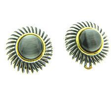 """Grey Glass Cat Eye Earrings Clip On .75"""""""
