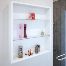 Bathroom 600mm Sonix white wall mounted twin glass shelf storage cupboard unit