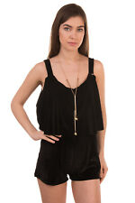 MARY D'ALOIA Velour Playsuit Size IT42 S Overlay Top Chain Detail Made in Italy