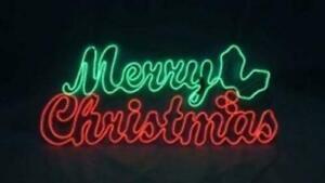 "36"" LED NEON Prelit MERRY CHRISTMAS Sign CURSIVE Holly Outdoor Yard Lighted NIB"