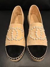 NIB Chanel 17B Beige Suede White Pearl CC Double Sole Espadrille Ballet Flat 41