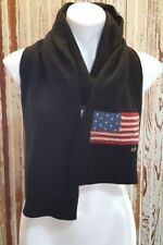 Ralph Lauren Women's Black Winter Scarf Merino Wool Blend Classic Flag Logo