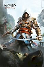ASSASSIN'S CREED IV ~ EDWARD KENWAY W/ SWORD 24x36 VIDEO GAME POSTER Black Flag