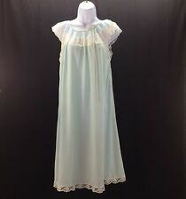 Vintage Saks Fifth Ave Nightgown Lingerie Sheer Pale Blue White Lace