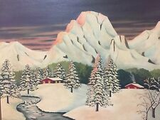 Deco Modern Oil On Canvas Signed Florence del Bosque 1949 Landscape Painting-A