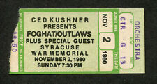 Original 1980 Foghat Outlaws Concert Ticket Stub Syracuse Ny Fool For The City
