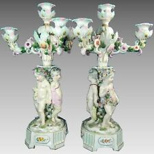 Antique Large Pair Encrusted Flowers Meissen Porcelain Candle Holder Germany