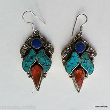 Earrings Handmade Antique Style Turquoise Coral Metal Drop Dangle Ear Ring ER68