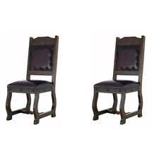 Two Rustic Gran Hacienda Leather Dining Chairs Solid Wood Lodge Old World