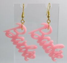 Pastel Pale Pink Barbie Earrings Charm Pastel  Resin Gold Plt Hooks D058 6 Cm