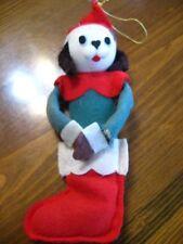 "Dog in Stocking Christmas Ornament Commonwealth of Pennsylvania 8"" Felt Vintage"