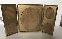 "Vtg Gold Metal Picture Frame Tri Fold Embossed Ornate Corners 8x10"" Center Frame"