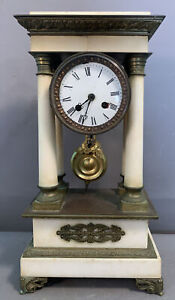 19thC Antique FRENCH VICTORIAN Marti ALABASTER & BRONZE Old PORTICO MANTEL CLOCK