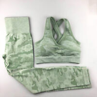 2 PCS Seamless Leggings Camouflage Crop Top Set Gym High Waist Yoga Shark Women