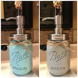 Mason Soap Dispenser Ball Canning Pint Jar HANDMADE Blue Gray Tan Brown Cream