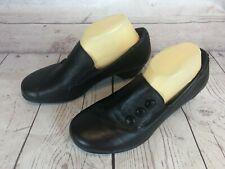 ARAVON Phyllis Womens Size 9 D Black Leather Loafers Shoes Button Accent 56w