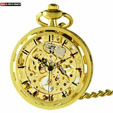 Gold Roman Pendant Mechanical Skeleton Pocket Watch Retro Wind Up Steampunk Gift