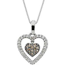 14K White Gold White and Brown Diamond Heart Necklace