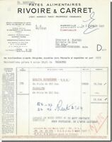 Invoice - Rivoire & Carret Paw Print Food in Marseille 1957