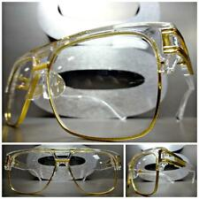 CLASSIC 70's VINTAGE Style Clear Lens EYE GLASSES Transparent Gold Fashion Frame