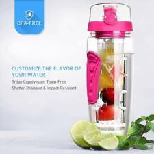 Fruit Infuser Water Bottle 32oz BPA Free Flip Top Lid & Dual Anti-Slip Grips