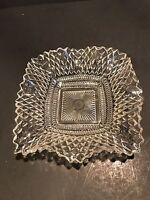 Clear INDIANA GLASS Co Square Ruffled Diamond Point Candy Nut Dish Bowl Vintage