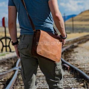 Men's Genuine Leather Handmade Brown Crossbody Shoulder Satchel Messenger Bag
