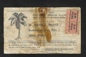 1923 Coconut Grove,FL-Business Club Mailing Label with 9ct Jefferson Precancels