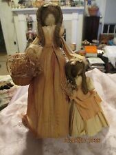Gorgeous Vintage curly haired Mom mother & Daughter Corn husk dolls