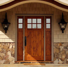 KNOTTY ALDER 6 LITE CRAFTSMAN ENTRY DOOR 3/0 x 6/8 WITH SIDELIGHTS