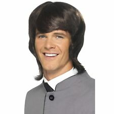60s Brown Male Mod Mullet Style Wig 1960s Mens Adults Fancy Dress Accessory