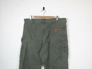 "Carhartt DOUBLE KNEE Green Denim Straight Workwear Carpenters Trousers | 38""x34"""