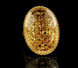 DESIGNER SIGNED FINE PRECIOUS NATURAL IMPERIAL TOPAZ SOLID 18K GOLD CLUSTER RING