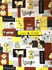 DOGS, KISSES, FRIENDS, FETCH in  SQUARES   COTTON  FLANNEL   $4.50  Yard