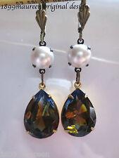 Art Nouveau earrings vintage pearl topaz blue crystal drop Art Deco Tudor