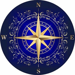 Blue Rose compass decal Camper RV motor home mural graphic