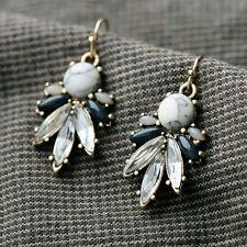 Cute Clear Glass Crystal Bronze Dangle Earrings