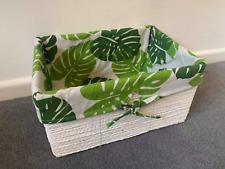 UNIQUE Tropical White Wicker Storage Baskets Hamper Gifts Rattan Bathroom Decor