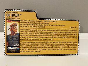 GI Joe 1988 Vintage TRU Night Force Exclusive Outback File Card!