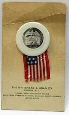 1937 WHITEHEAD & HOAG advertising promo SESQUICENTENNIAL pinback button CARDED +