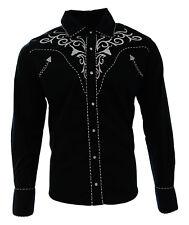 Cowboy Shirt Camisa Vaquera Western Wear El General Long Sleeve Black