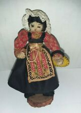 """Antique National Costume Doll Wire Cloth Wrapped Handmade 3.25"""""""