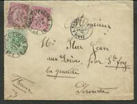 BELGIUM TO FRANCE 1886 COVER, FOUNTAINE LEVEQUE TO GIRONDE, NICE